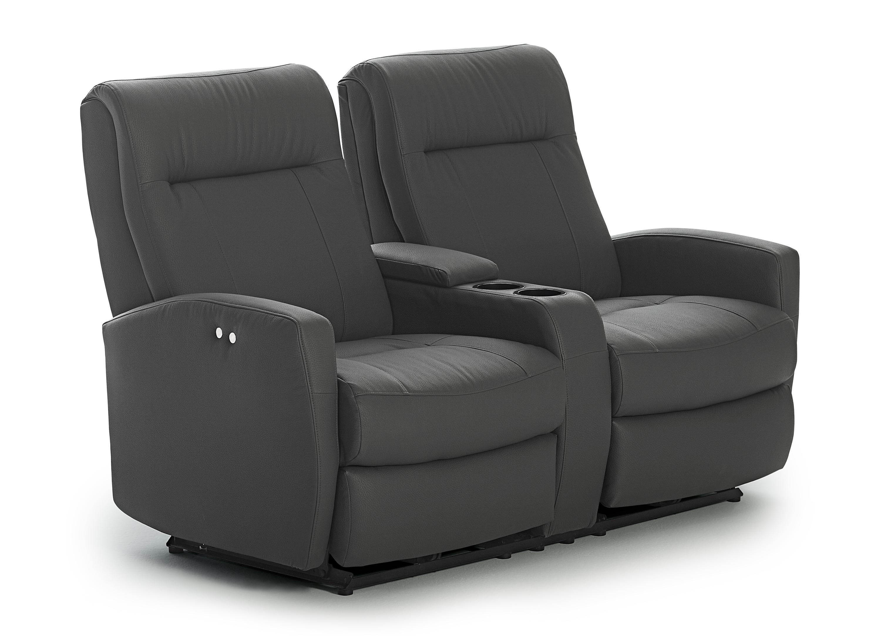 Contemporary rocking reclining loveseat with drink console and charging port by best home Rocking loveseats