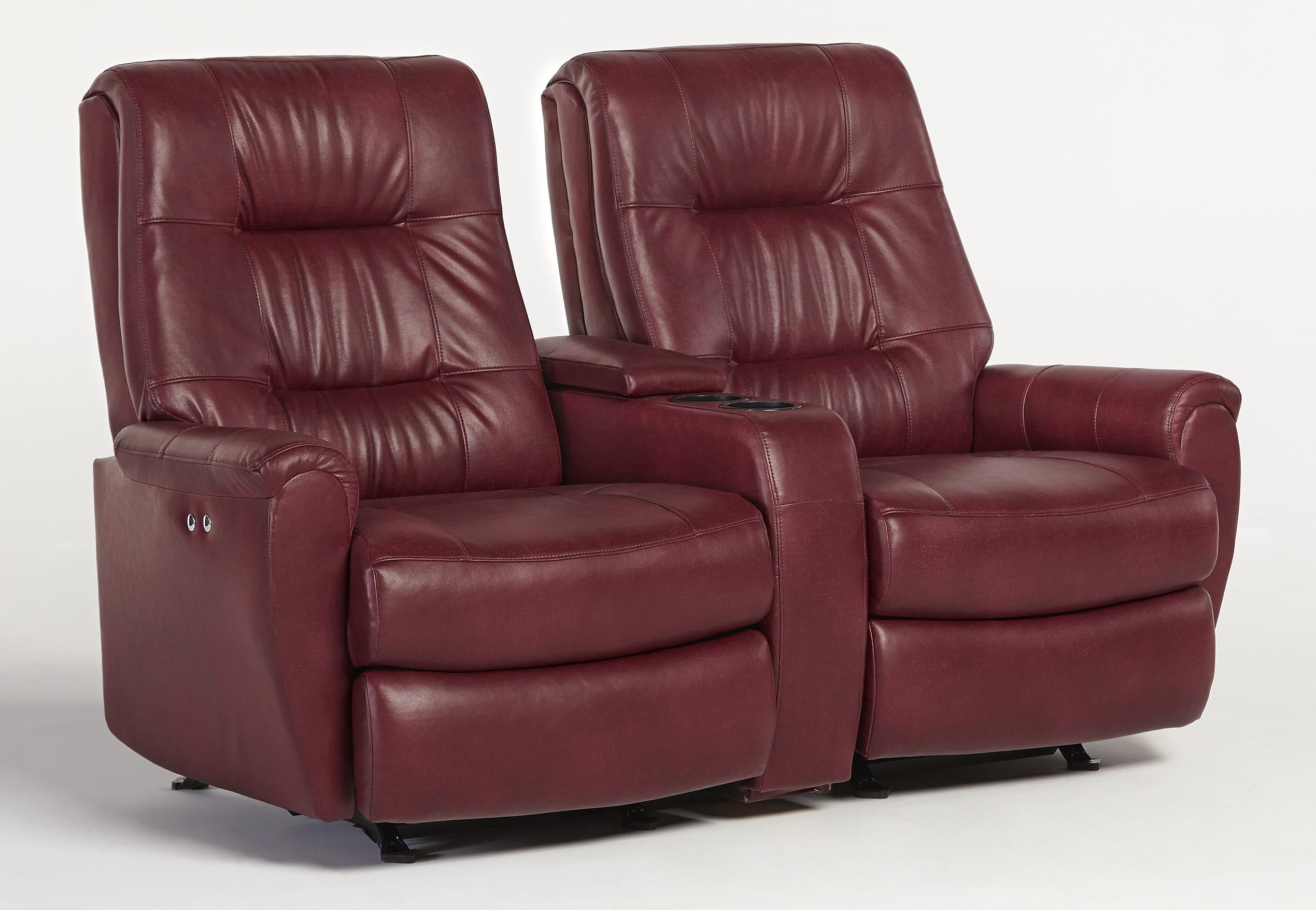 Small scale power rocking reclining loveseat with drink and storage console by best home Storage loveseat