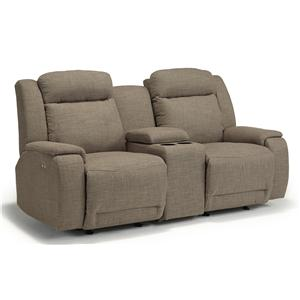 Best Home Furnishings Hardisty Space Saver Reclining Loveseat w/ Console