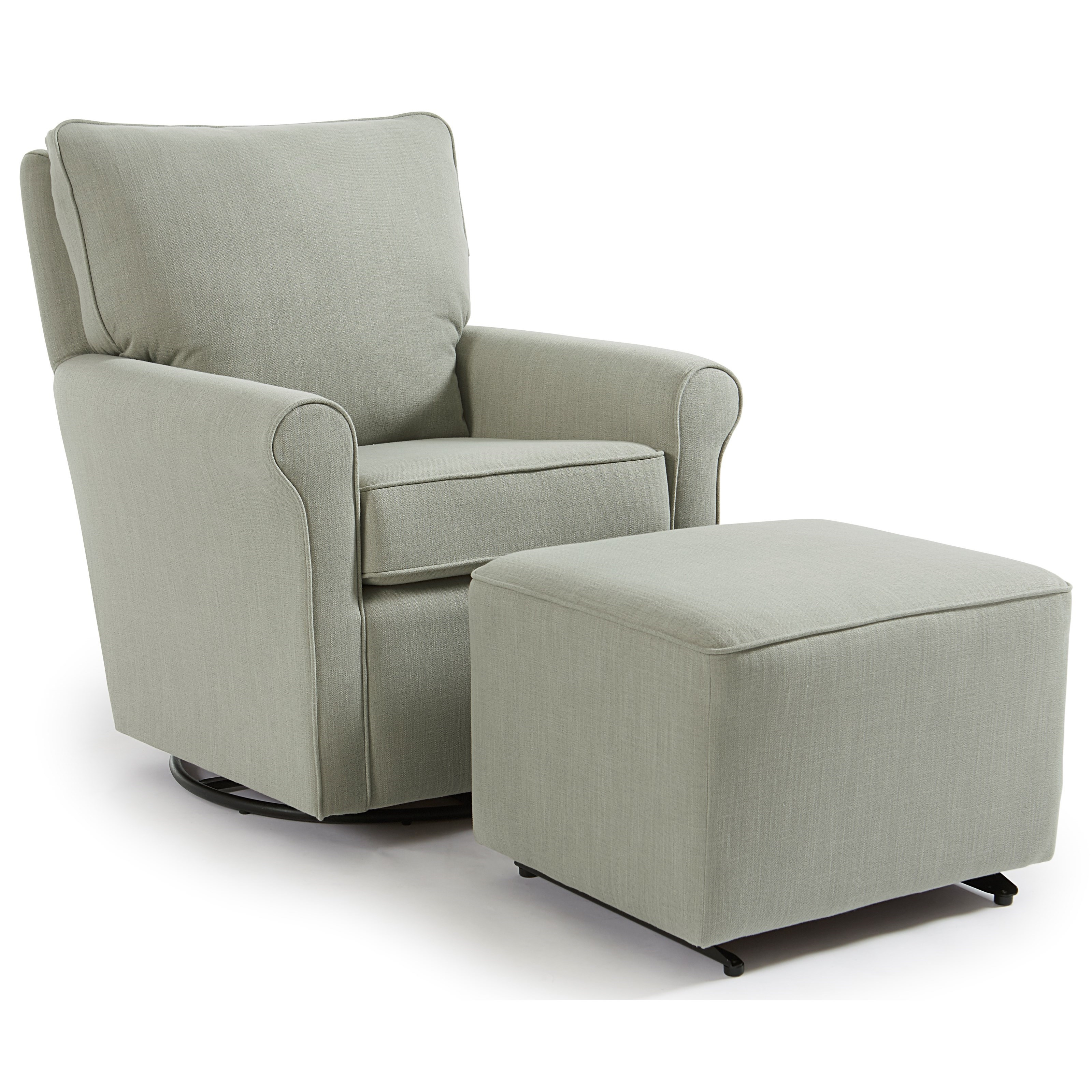 Casual Swivel Glider Chair And Ottoman By Best Home
