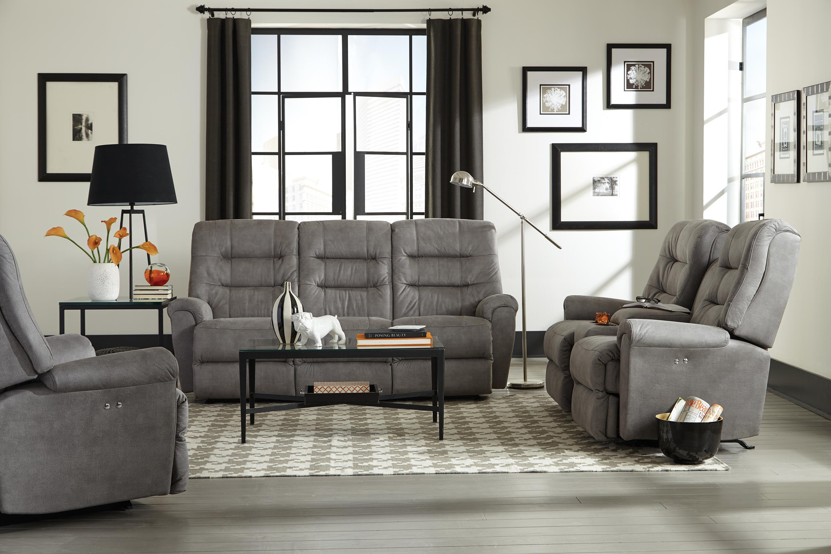casual power rocking reclining loveseat with cupholder and storage console