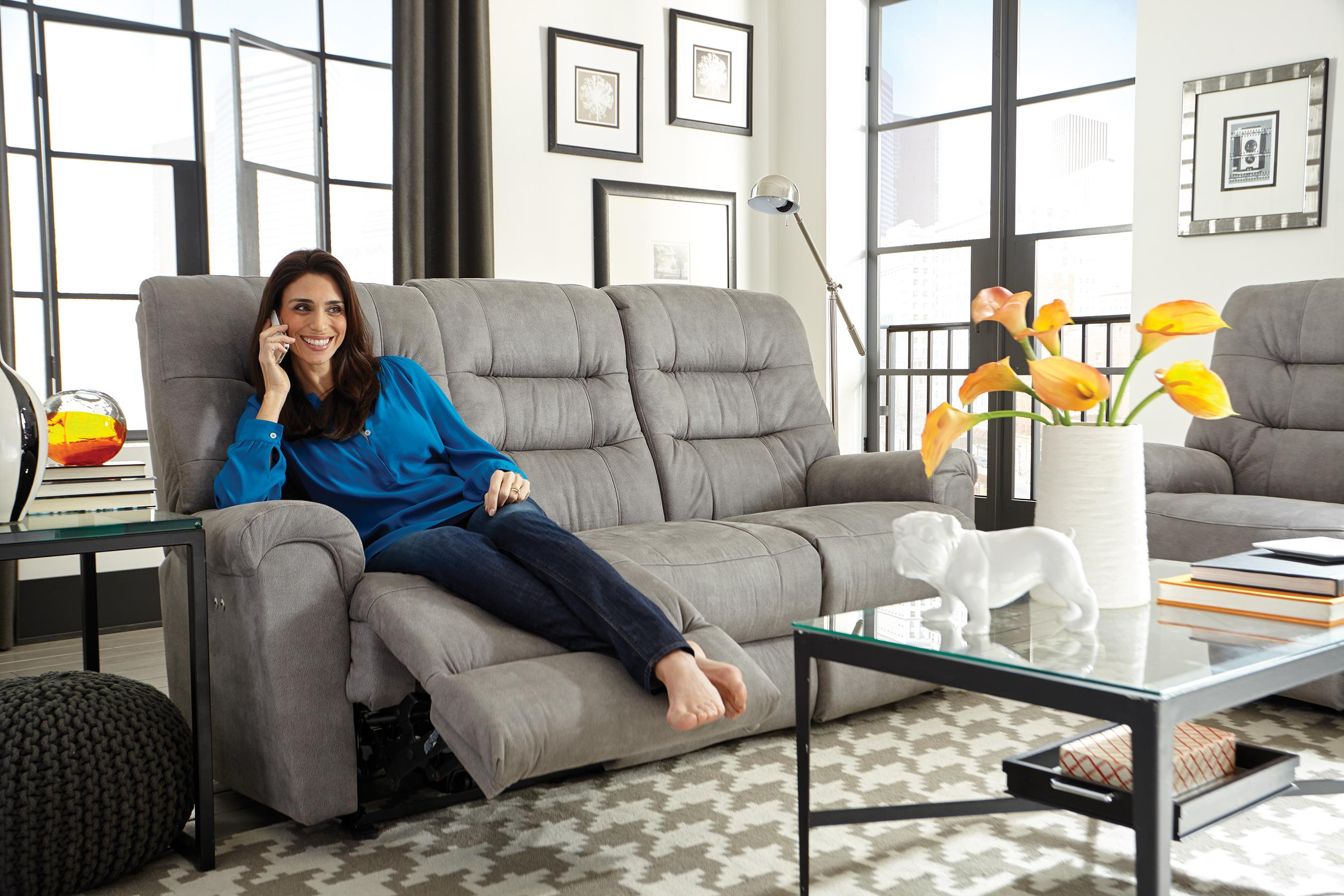 Casual Reclining Sofa with Automotive Inspired Design by Best Home