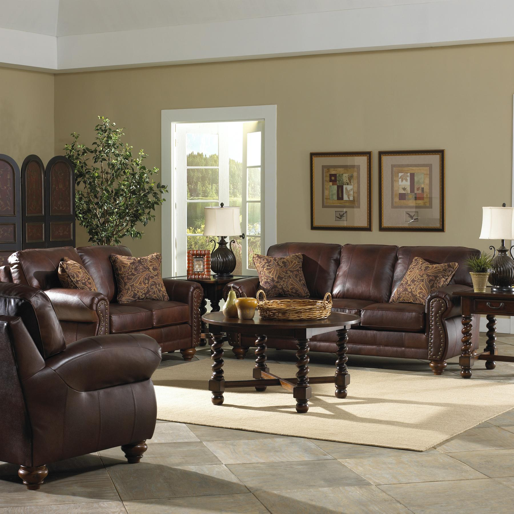 Traditional Leather Loveseat with Nailhead Trim by Best Home
