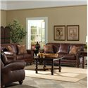 Best Home Furnishings Osmond Stationary Leather Sofa With Nailhead Trim - Shown in Room Setting With Coordinating Loveseat and Chair