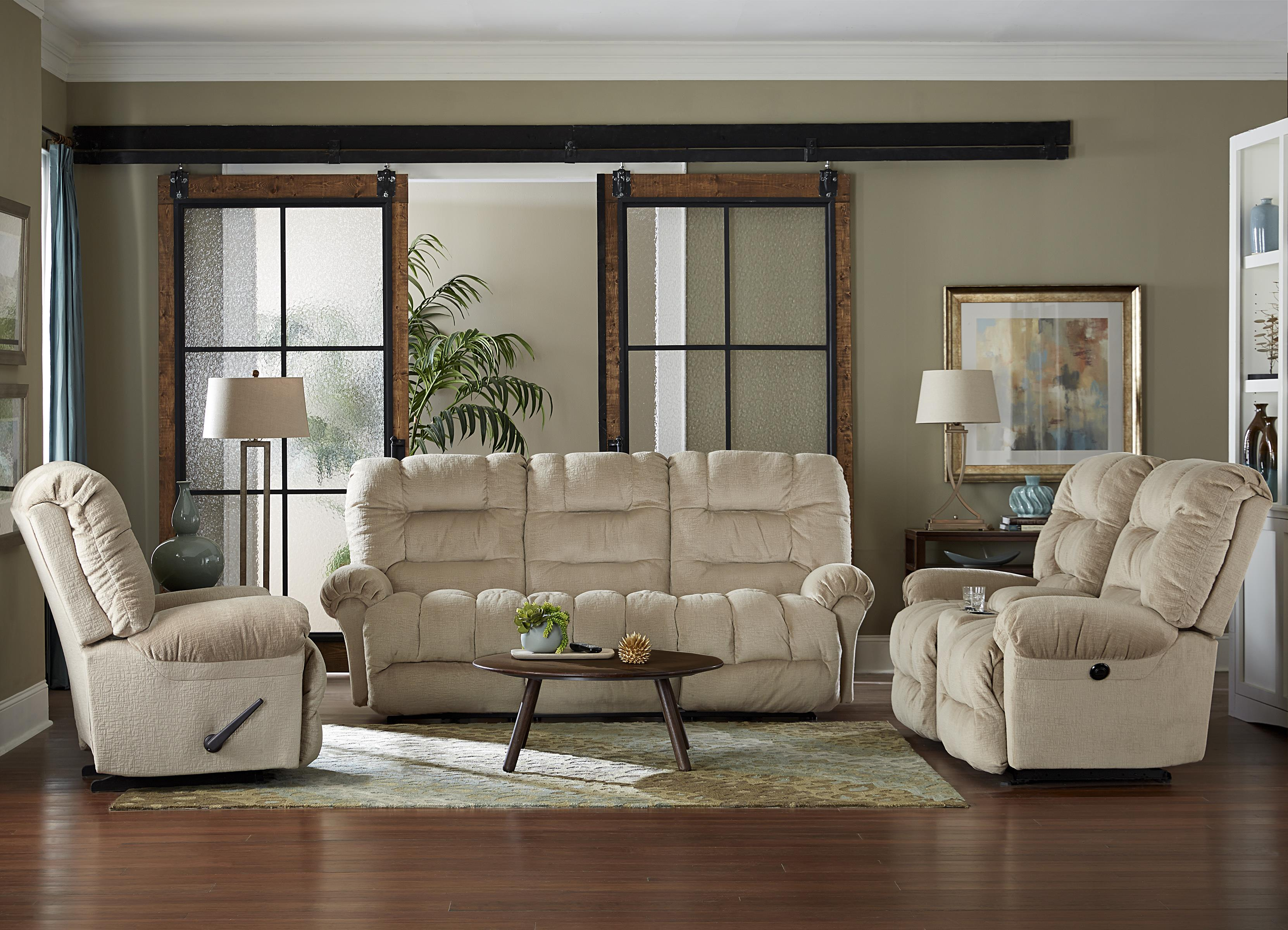 casual power rocking reclining loveseat with cupholder console