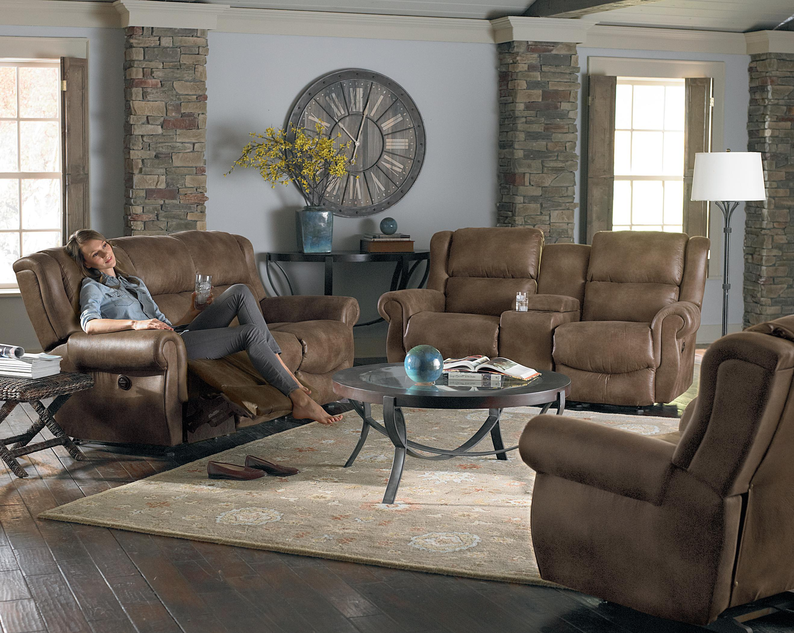 Transitional Rocker Reclining Loveseat With Drink Console