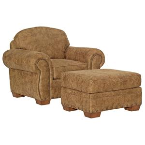 Broyhill Furniture Cambridge Casual Style Chair and Ottoman