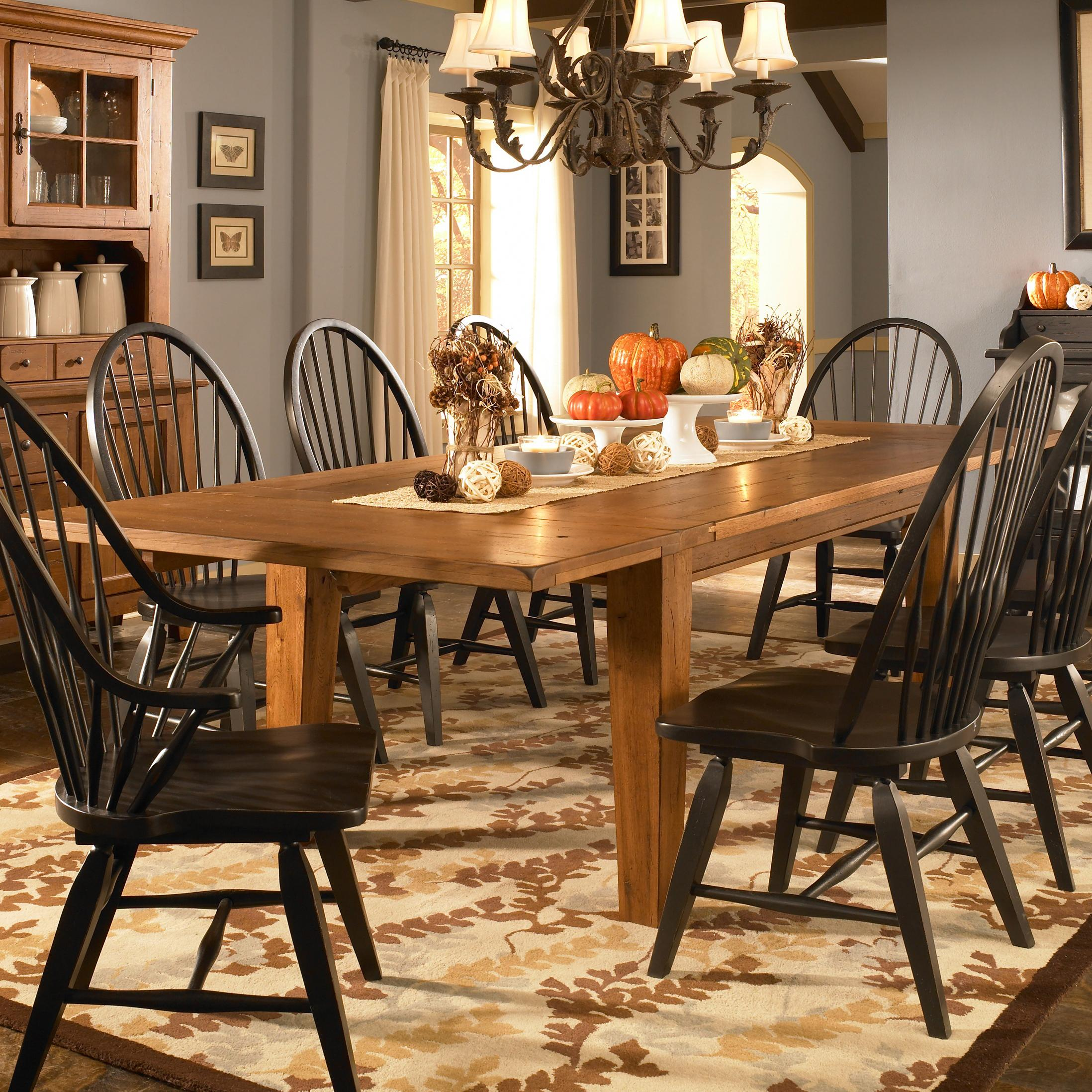 Leg dining table with leaves by broyhill furniture wolf and leg dining table with leaves workwithnaturefo