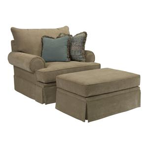 Broyhill Furniture Helena Chair and a Half and Ottoman Set