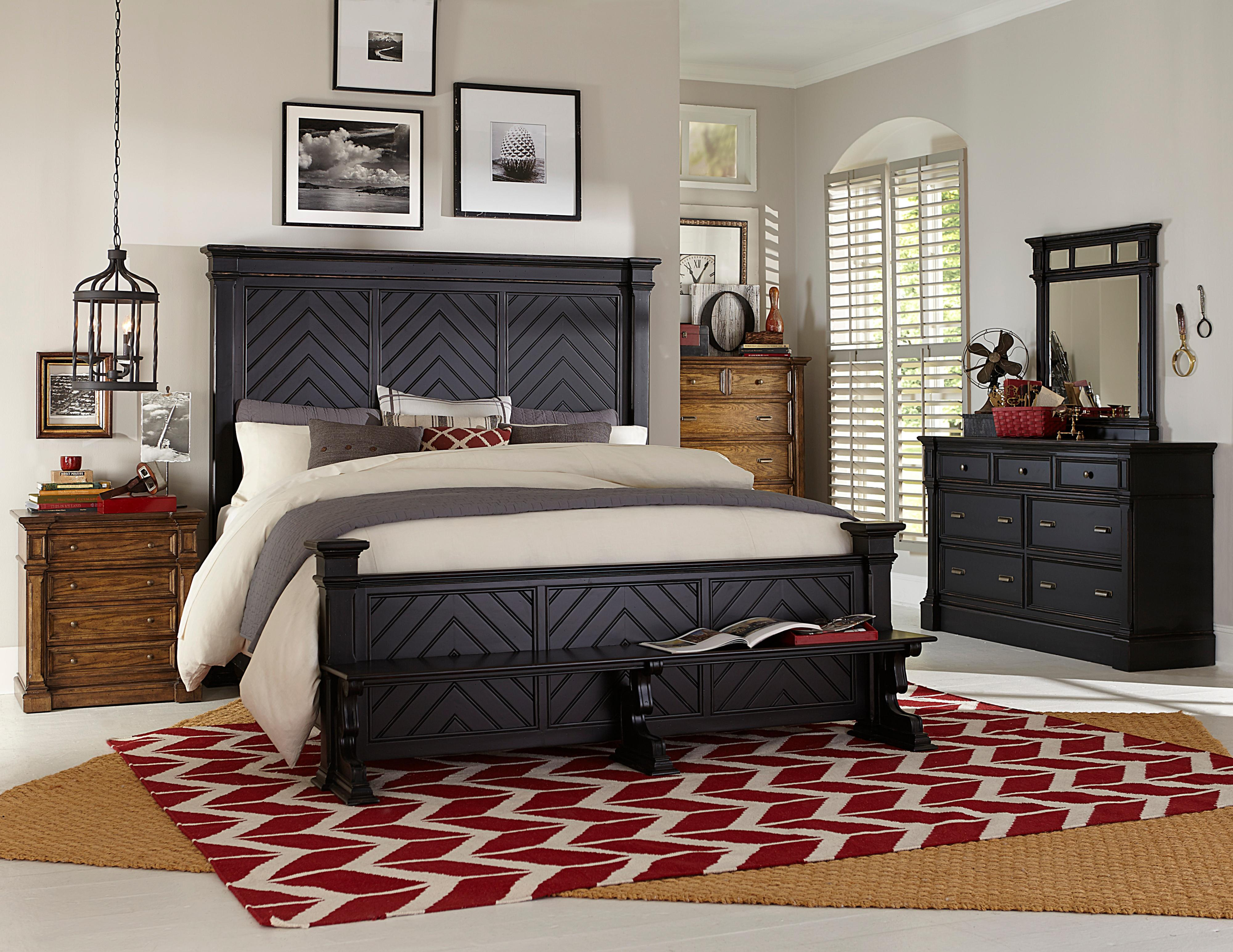 King Chevron Bed. King Chevron Bed with Benchseat Footboard by Broyhill Furniture