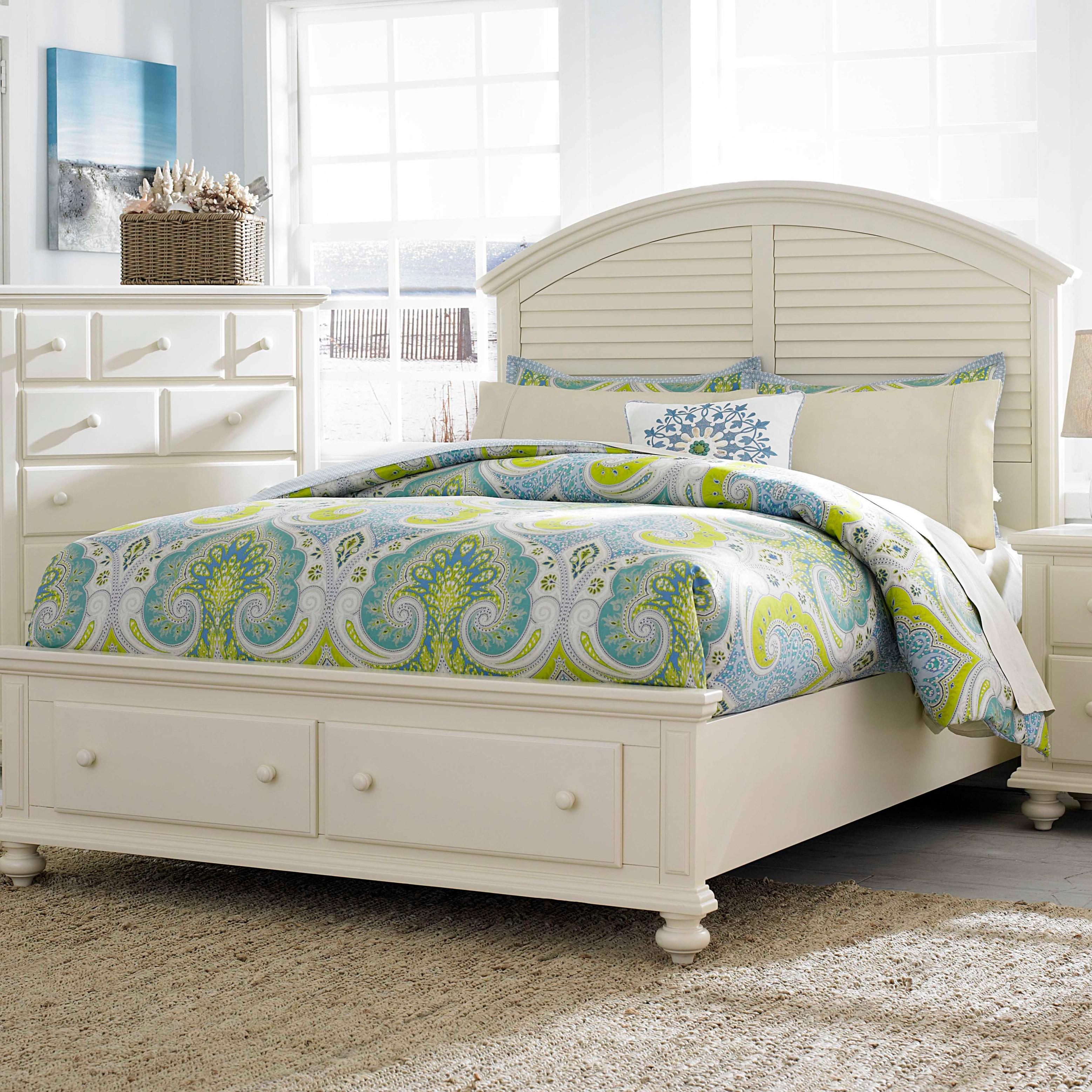 Louvered Bedroom Furniture California King Panel Bed With Arched Louvered Headboard And