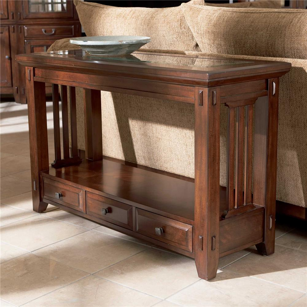Three drawer sofa table by broyhill furniture wolf and