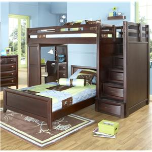 Morris Home Furnishings Canton Canton Twin/Twin Loft Bed with Steps