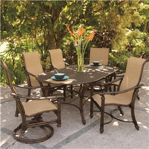 Castelle by Pride Family Brands Coco Isle 7 Piece Outdoor Dining Set