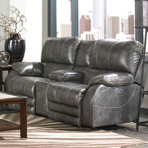 Casual Power Lay-Flat Console Loveseat with Comfort Control Panel Technology