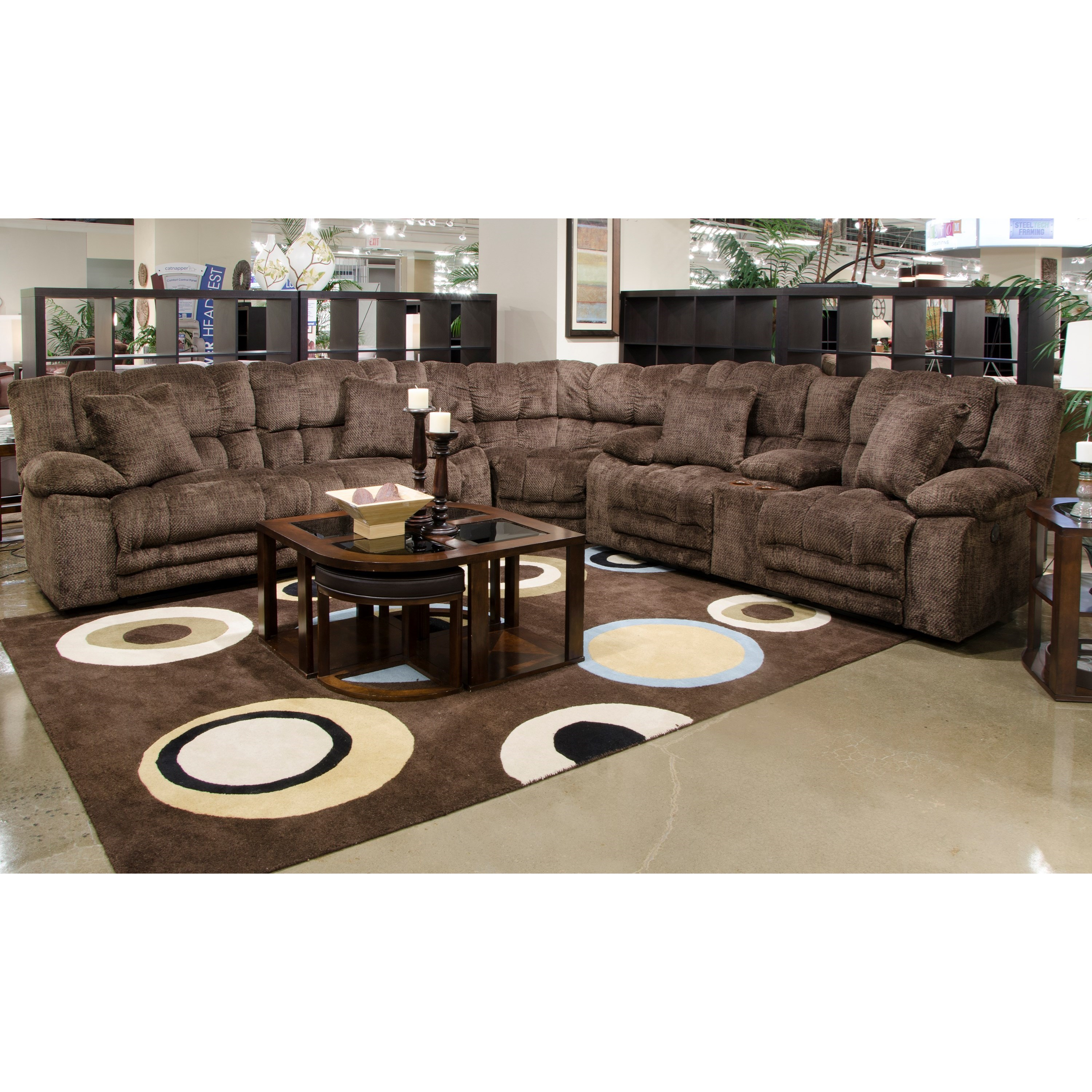 3 Piece Power Lay Flat Reclining Sectional With Extended