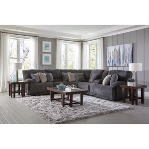 Power Reclining Sectional with Cup Holders and Storage Console