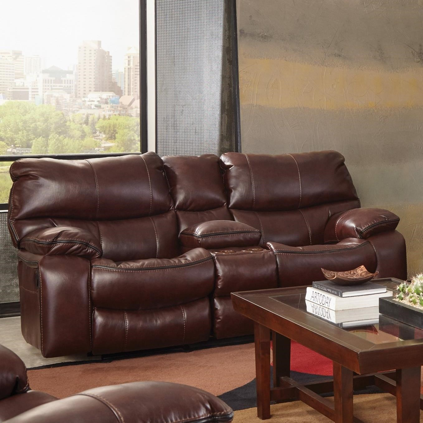 Reclining Gliding Console Loveseat With Cup Holders By
