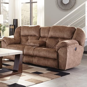 Power Lay Flat Reclining Console Loveseat with Storage and Cupholders