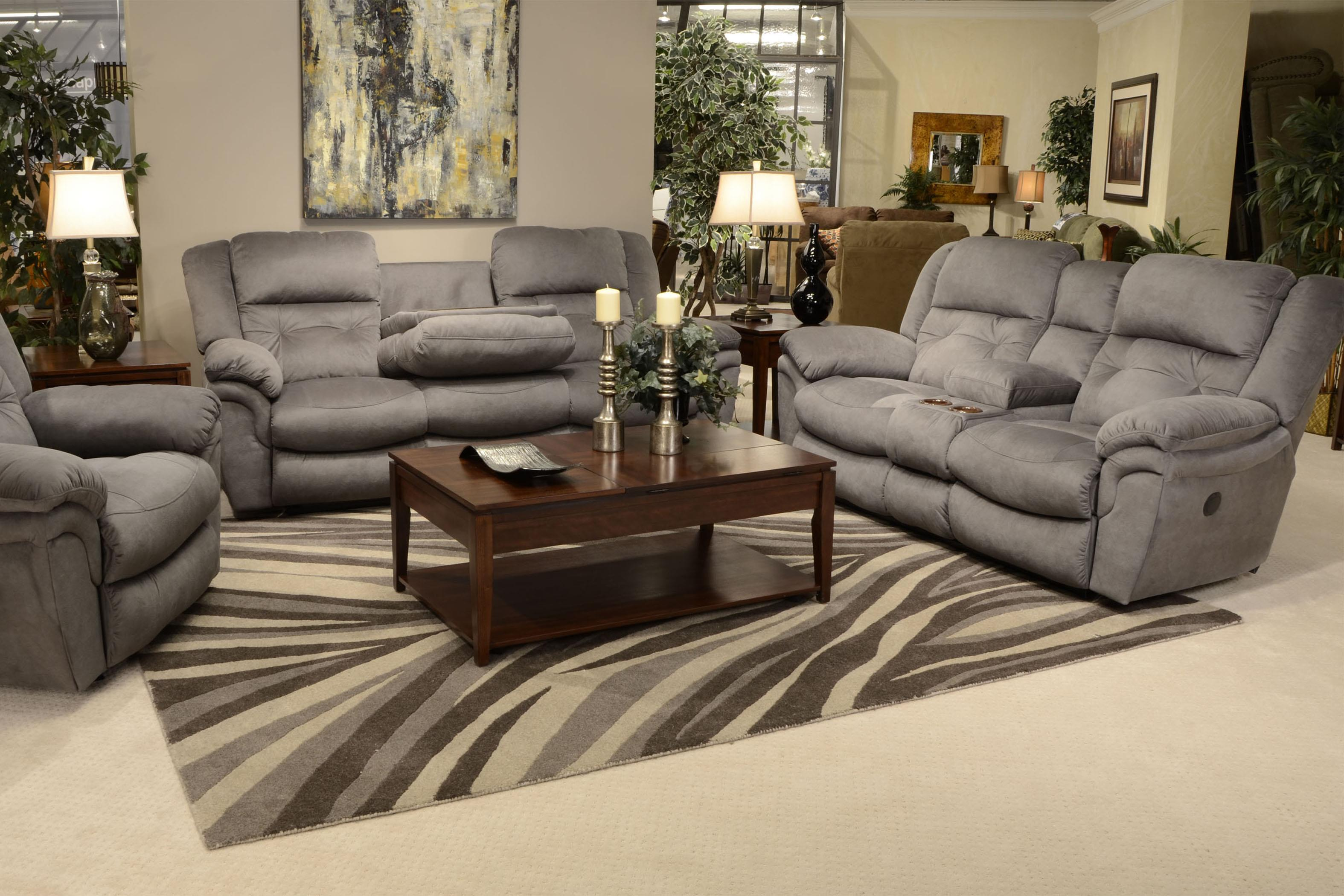 Lay Flat Reclining Console Loveseat By Catnapper Wolf And  ~ Dual Reclining Sofa With Drop Down Table