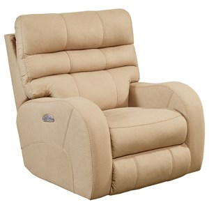 Contemporary Lay Flat Power Recliner with Power Headrest