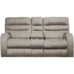 Contemporary Power Lay Flay Reclining Console Loveseat with Power Headrest and Lumbar