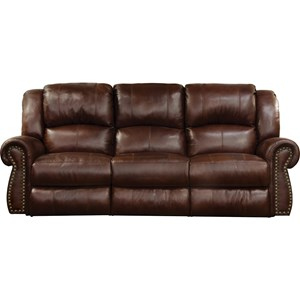 Traditional Power Lay Flat Reclining Sofa with Power Headrest