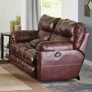 Casual Leather Lay Flat Reclining Console Loveseat with Cupholder Storage Console