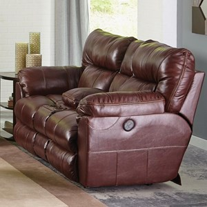 Casual Leather Power Lay Flat Reclining Console Loveseat with Cupholder Storage Console and USB Charging Ports
