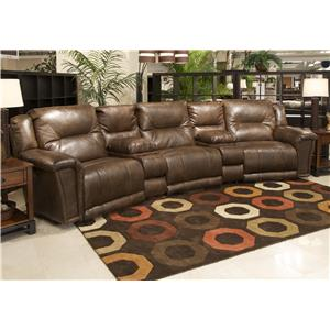 Reclining Theater Seating with 3 Seats and 2 Consoles