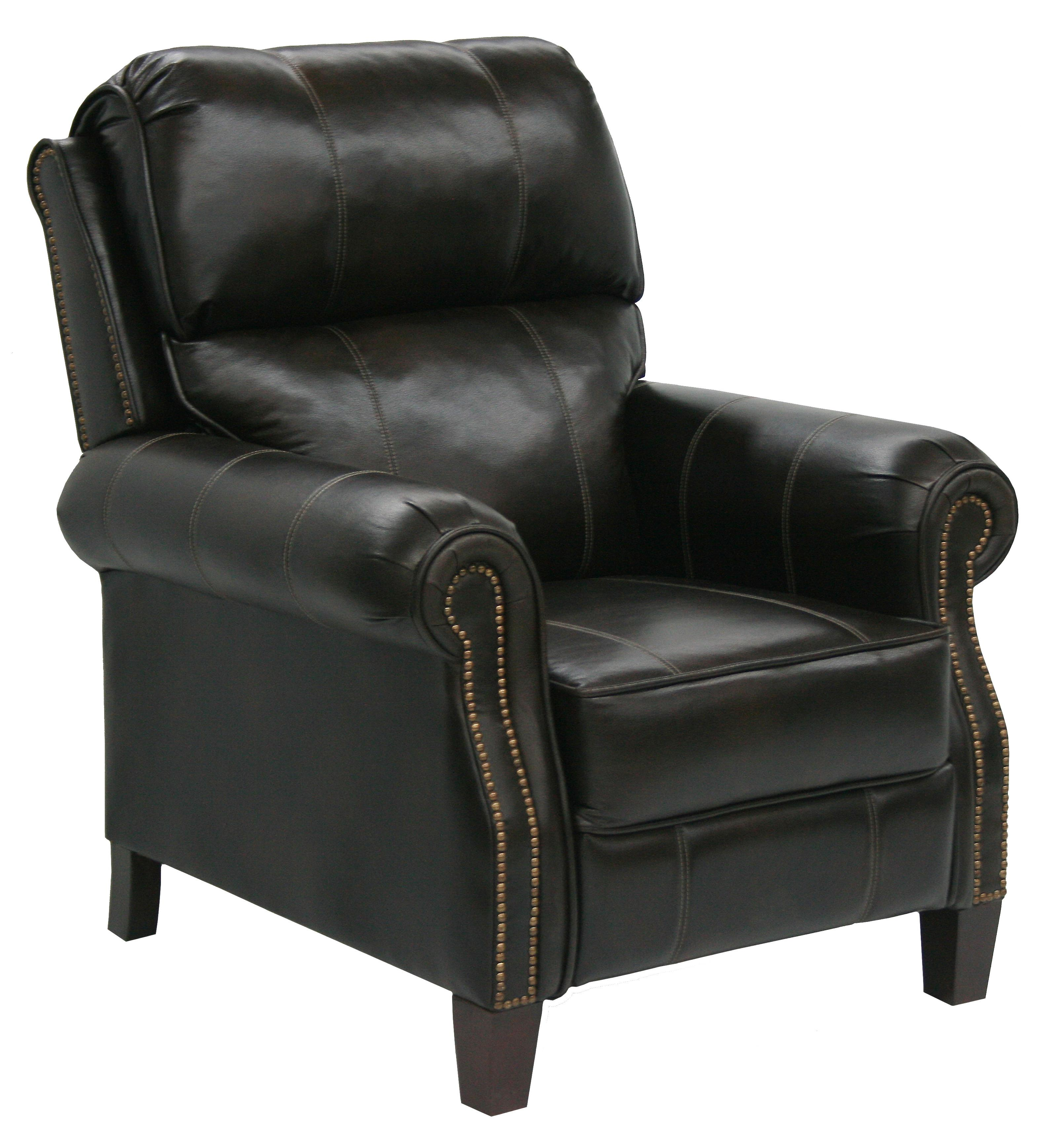 Faux Leather High Leg Recliner With Extended Ottoman In Traditional Den  Room Style