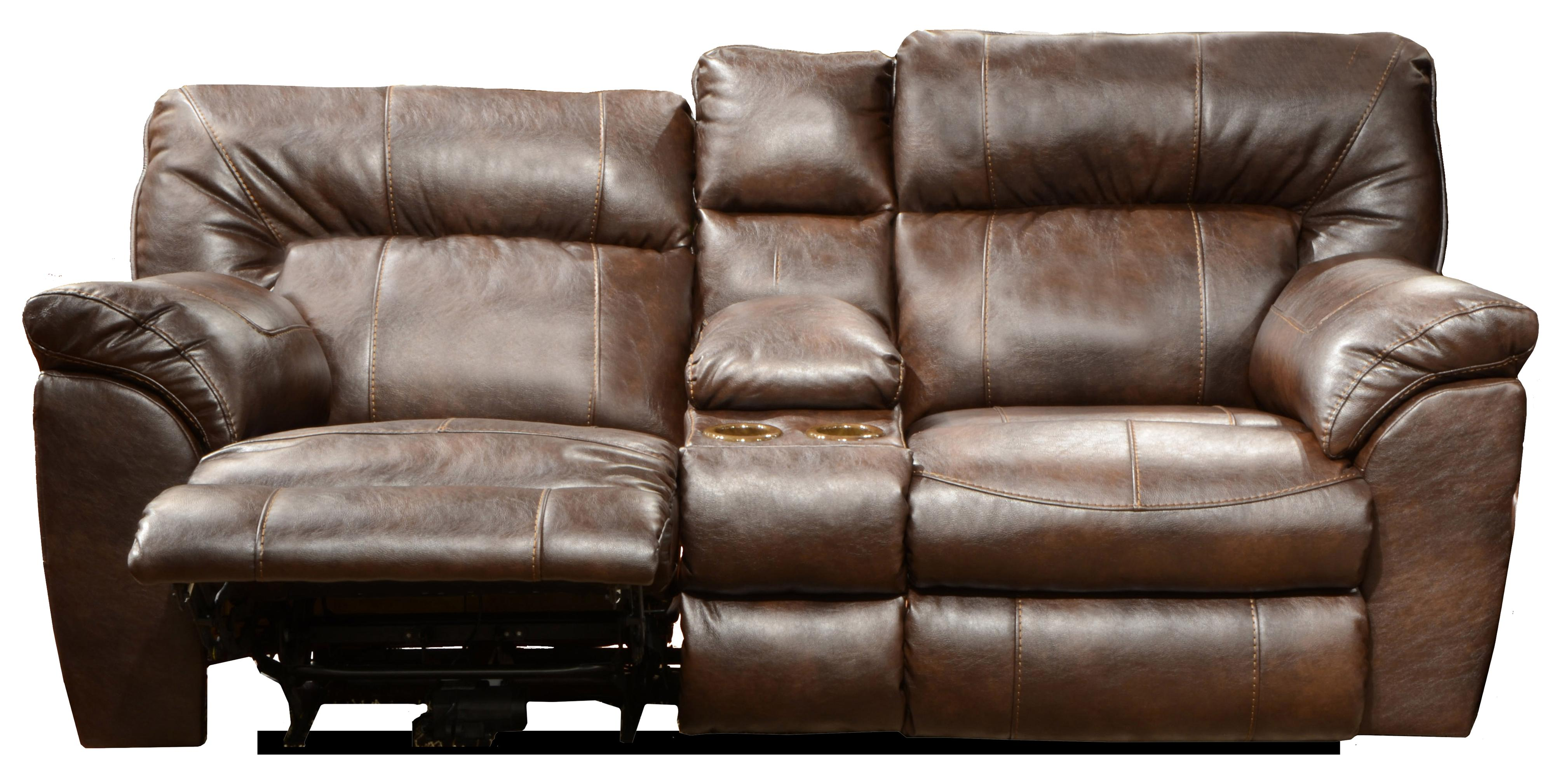 Power Extra Wide Reclining Console Loveseat With Storage And Cup Holders By Catnapper Wolf And