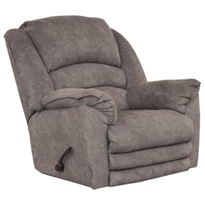 Casual Lay Flat Rocker Recliner with Extended Footrest