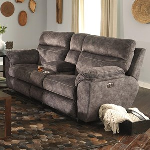 Power Reclining Console Loveseat with Adj Lumbar Support