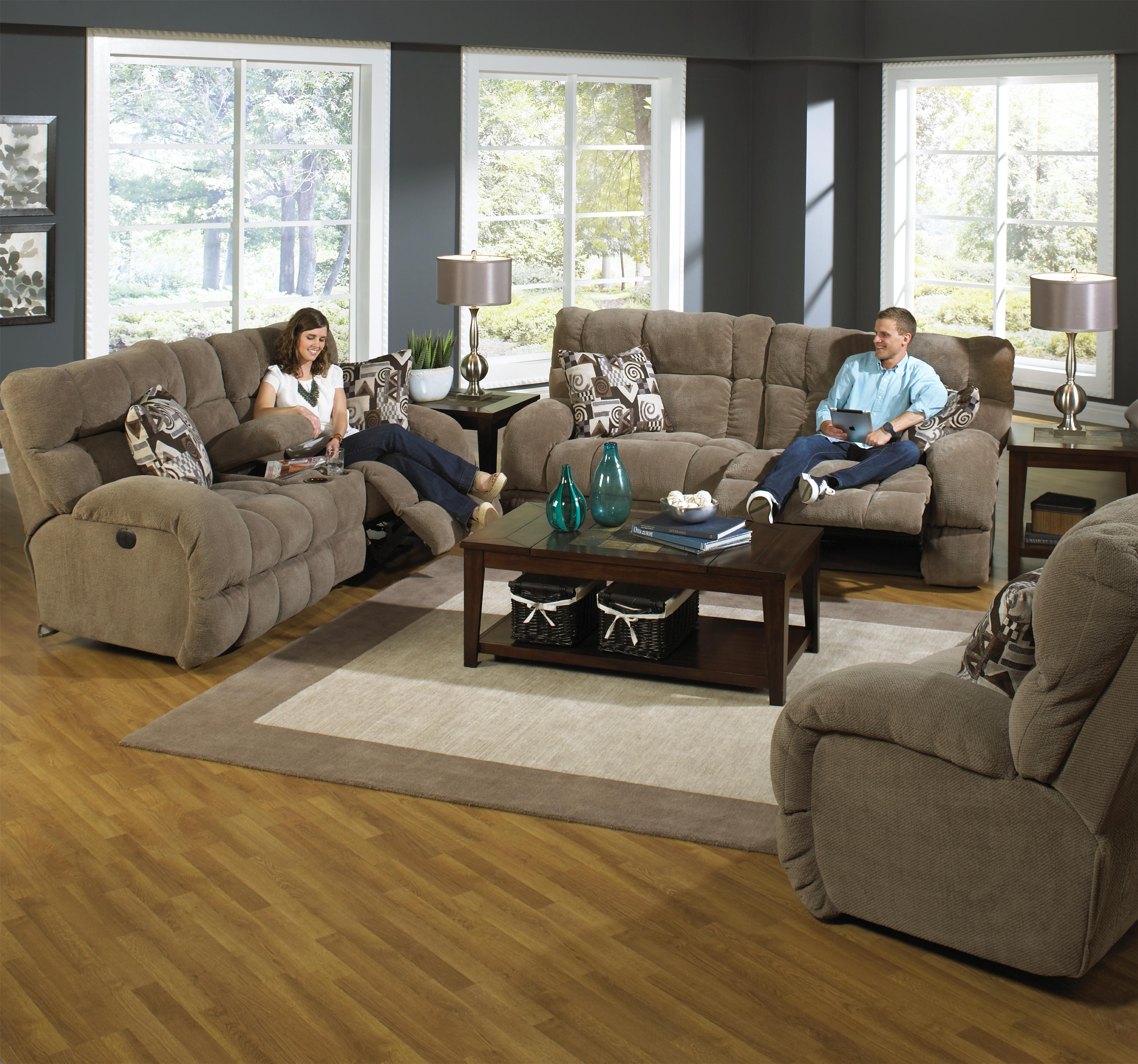 Power Lay Flat Reclining Sofa with Wide Seats by Catnapper