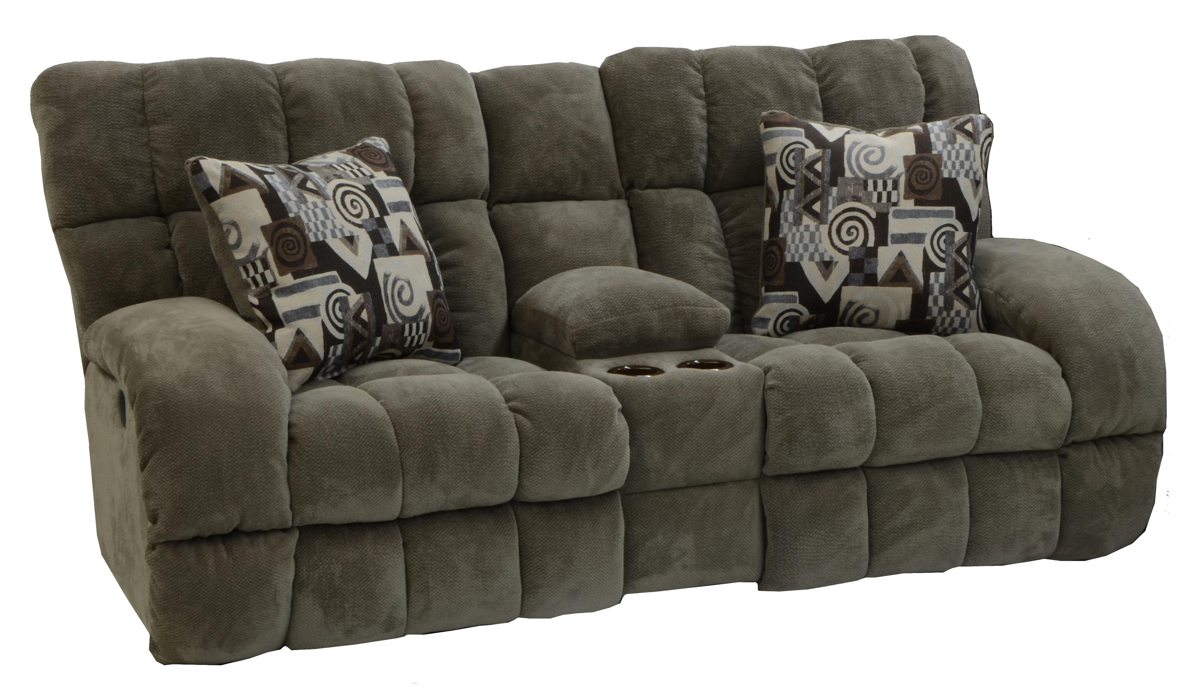 Power Lay Flat Reclining Console Loveseat with Wide Seats by