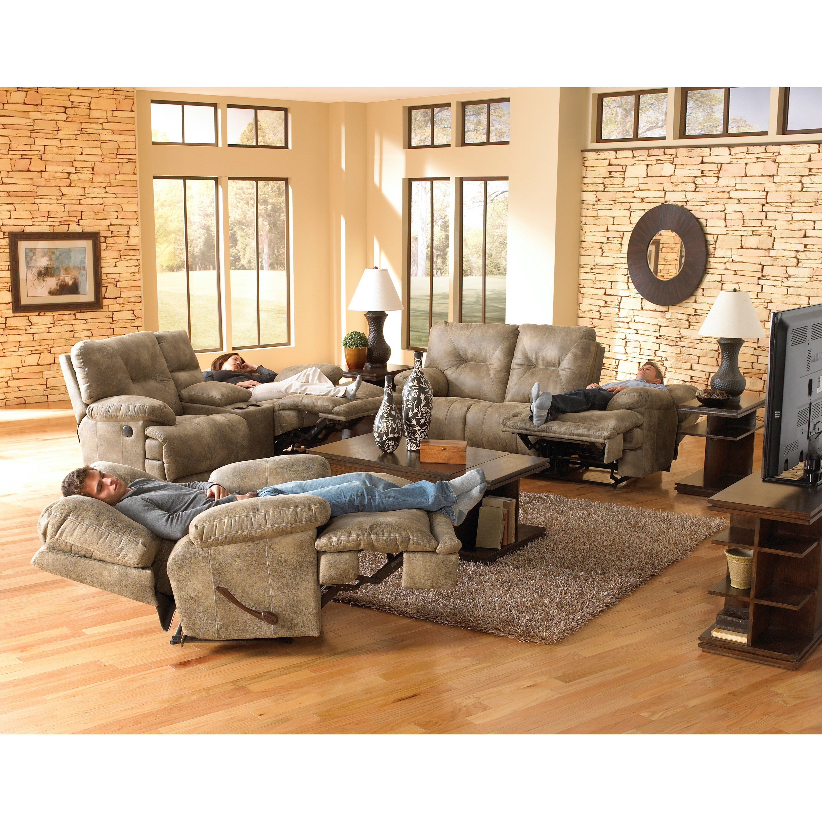 3 Seat Quot Lay Flat Quot Faux Leather Reclining Sofa By Catnapper