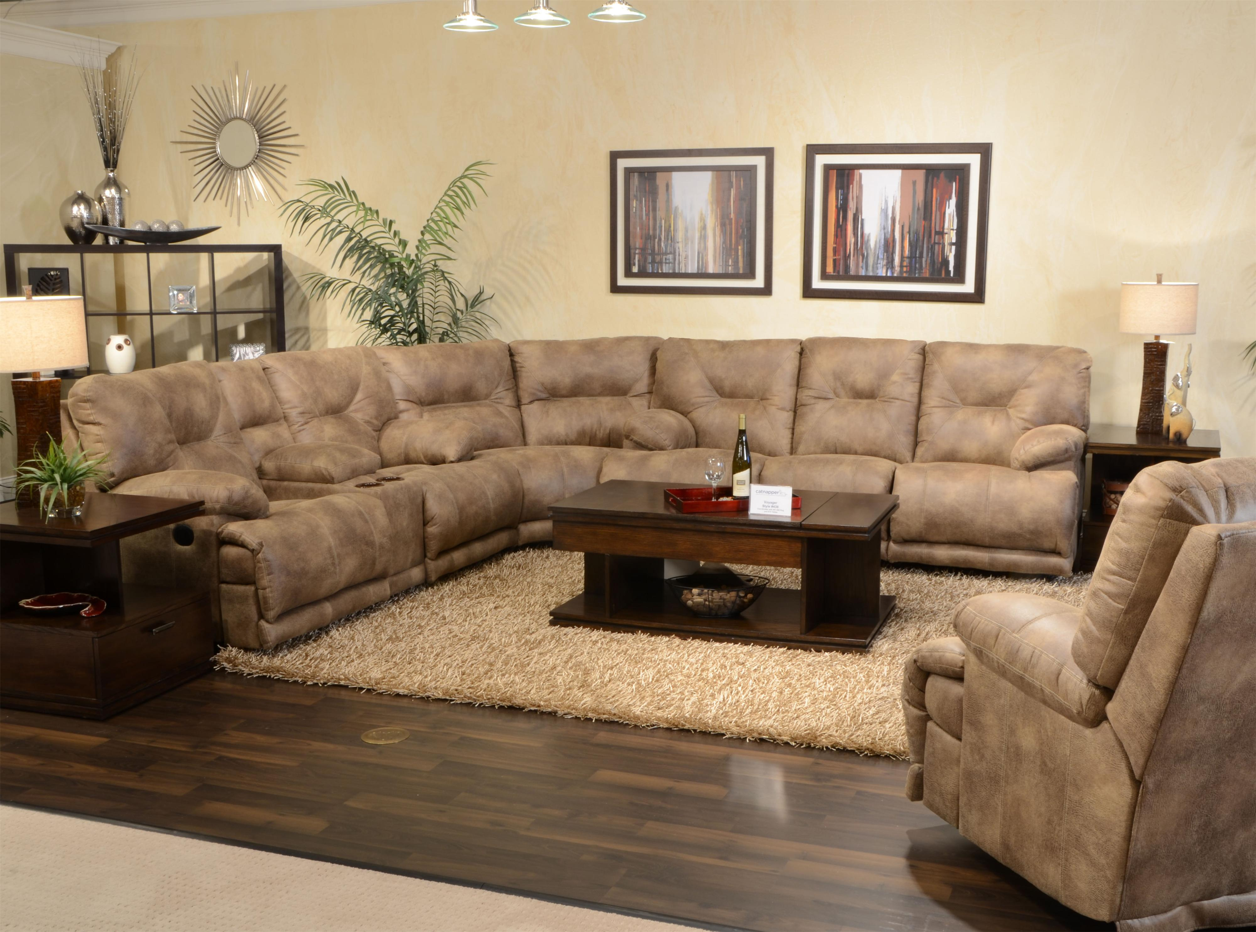 "POWER 6 Seat ""Lay Flat"" Reclining Sectional Seating by Catnapper"