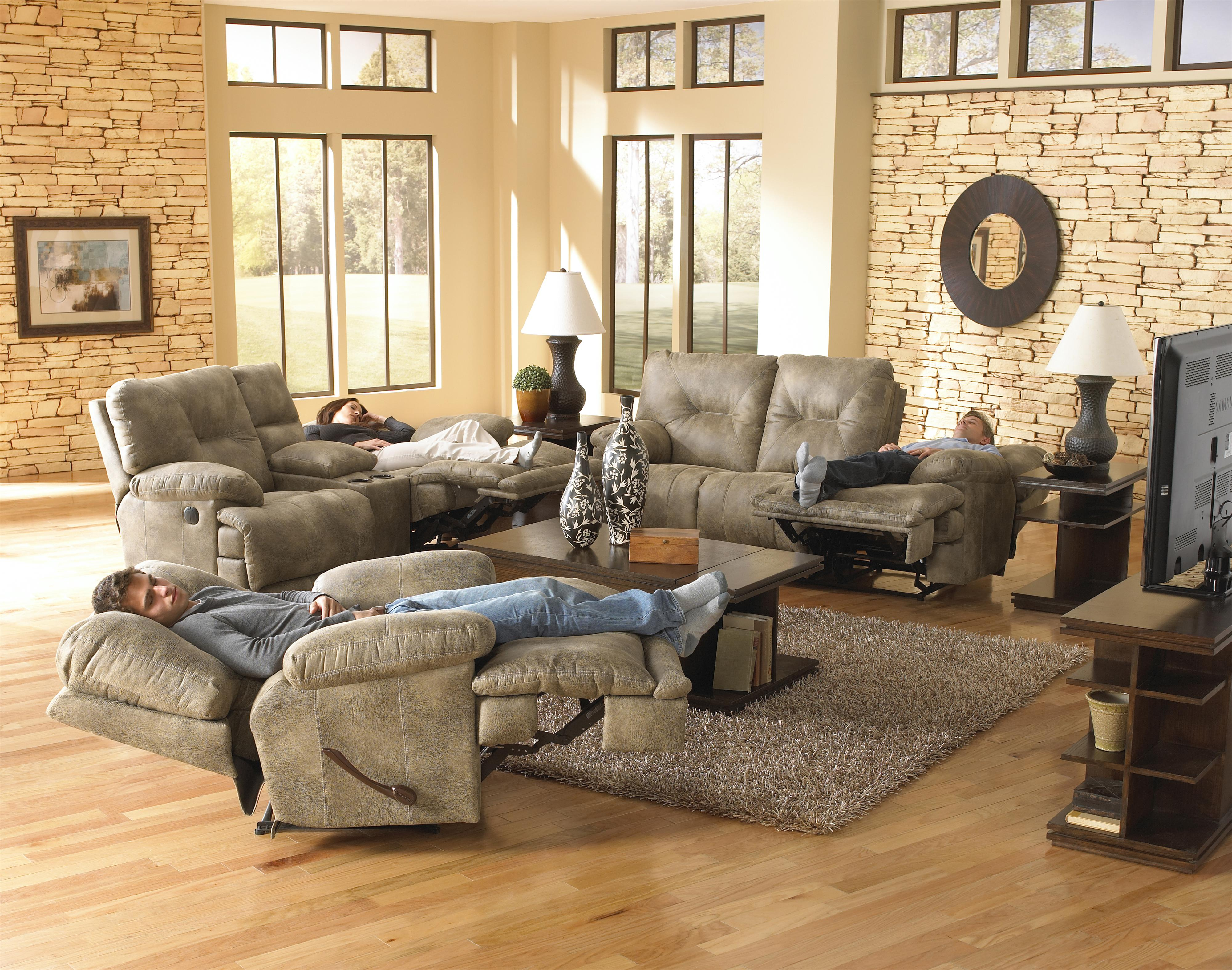 Power Lay Flat Reclining Console Loveseat with Cupholders by ...
