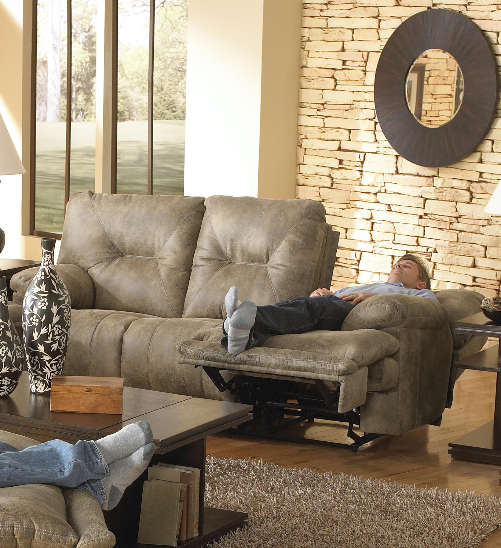 Power 3 Seat Quot Lay Flat Quot Reclining Sofa By Catnapper Wolf