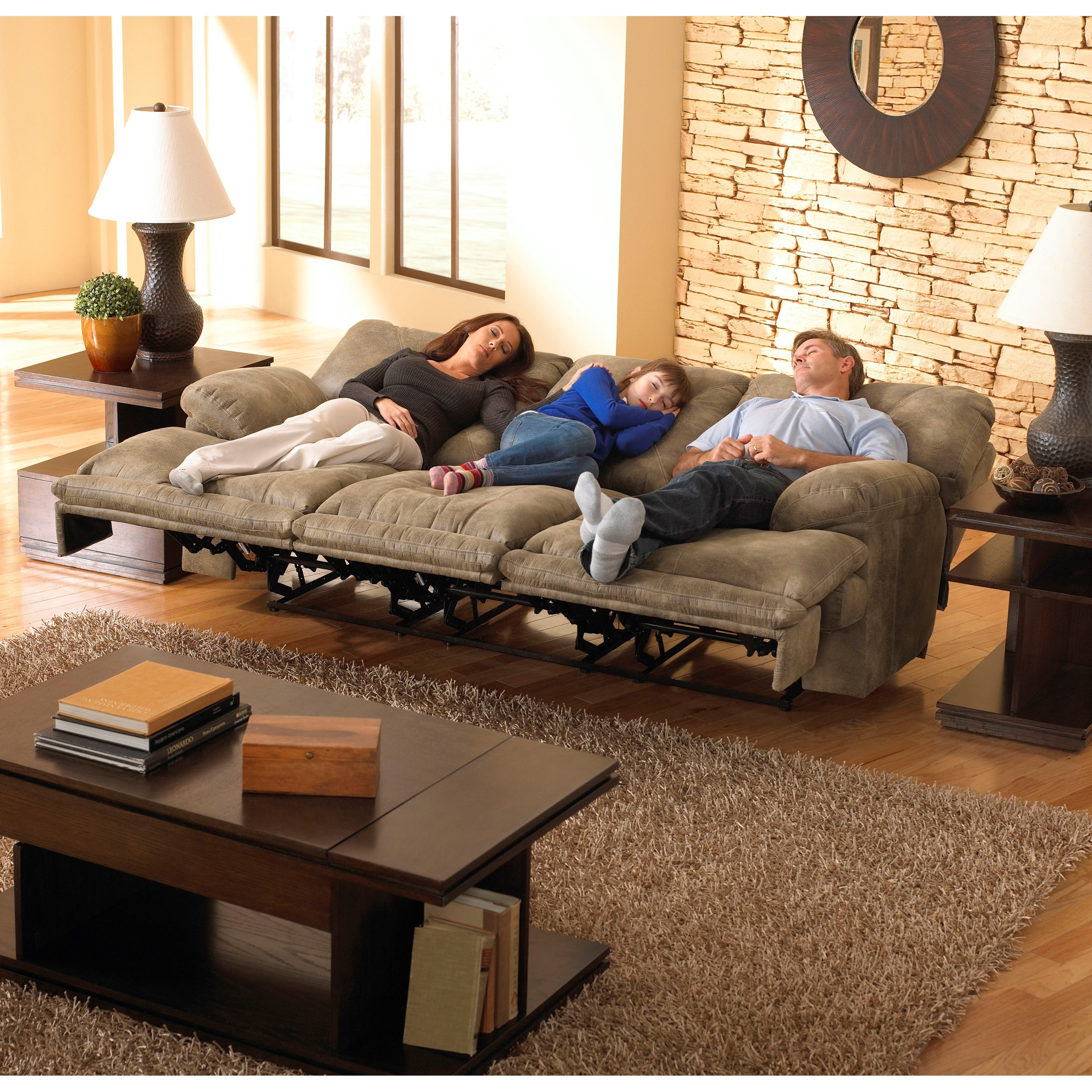 "POWER 3 Seat ""Lay Flat"" Reclining Sofa with Fold Down MiddleTable"
