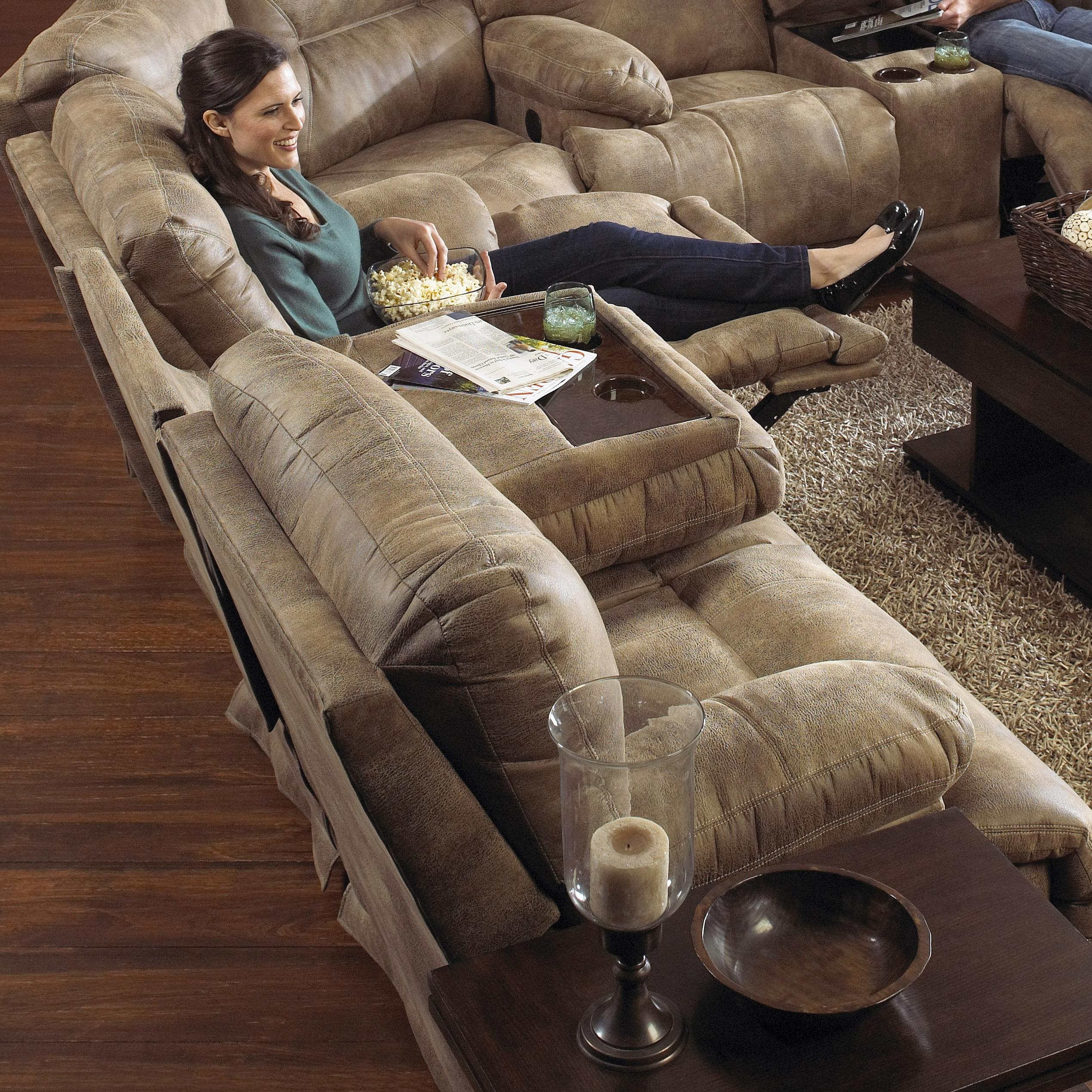 Power 3 Seat Quot Lay Flat Quot Reclining Sofa With Fold Down