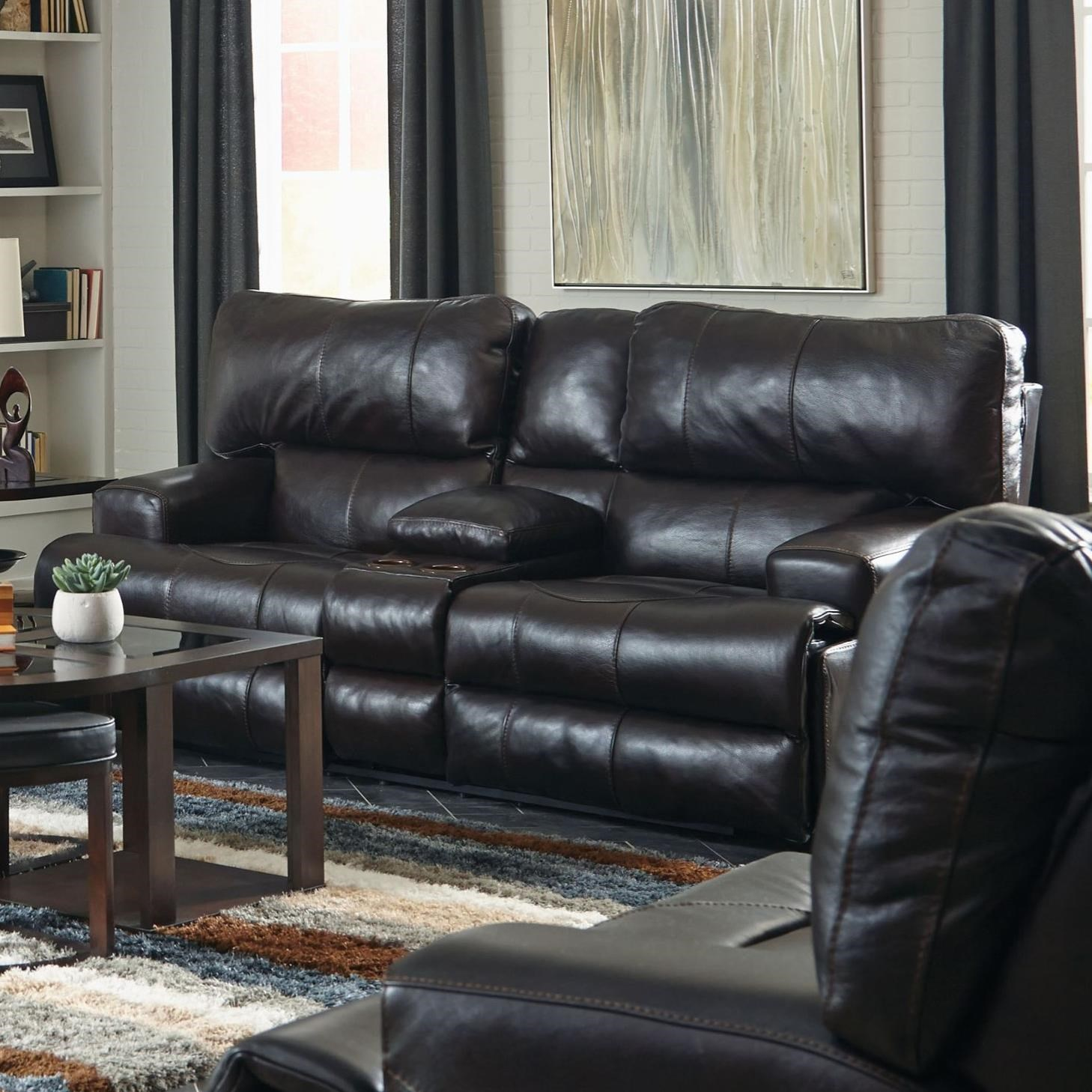 Power Lay Flat Reclining Console Loveseat with Power Headrest