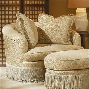 Century Elegance  Swivel Chair with Fringed Base
