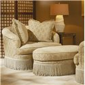 Century Elegance  Swivel Chair with Fringed Base - Shown with Matching Ottoman