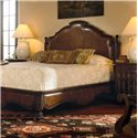 Century Marbella 661 California King Size Bergantin Mahogany and Leather Bed  - Shown with Decorative Carmelo Drawer and Door Nightstand. Bed Shown May Not Represent Size Indicated.