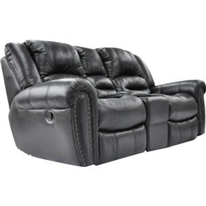 Cheers Sofa Black Nailhead Reclining Loveseat with Console