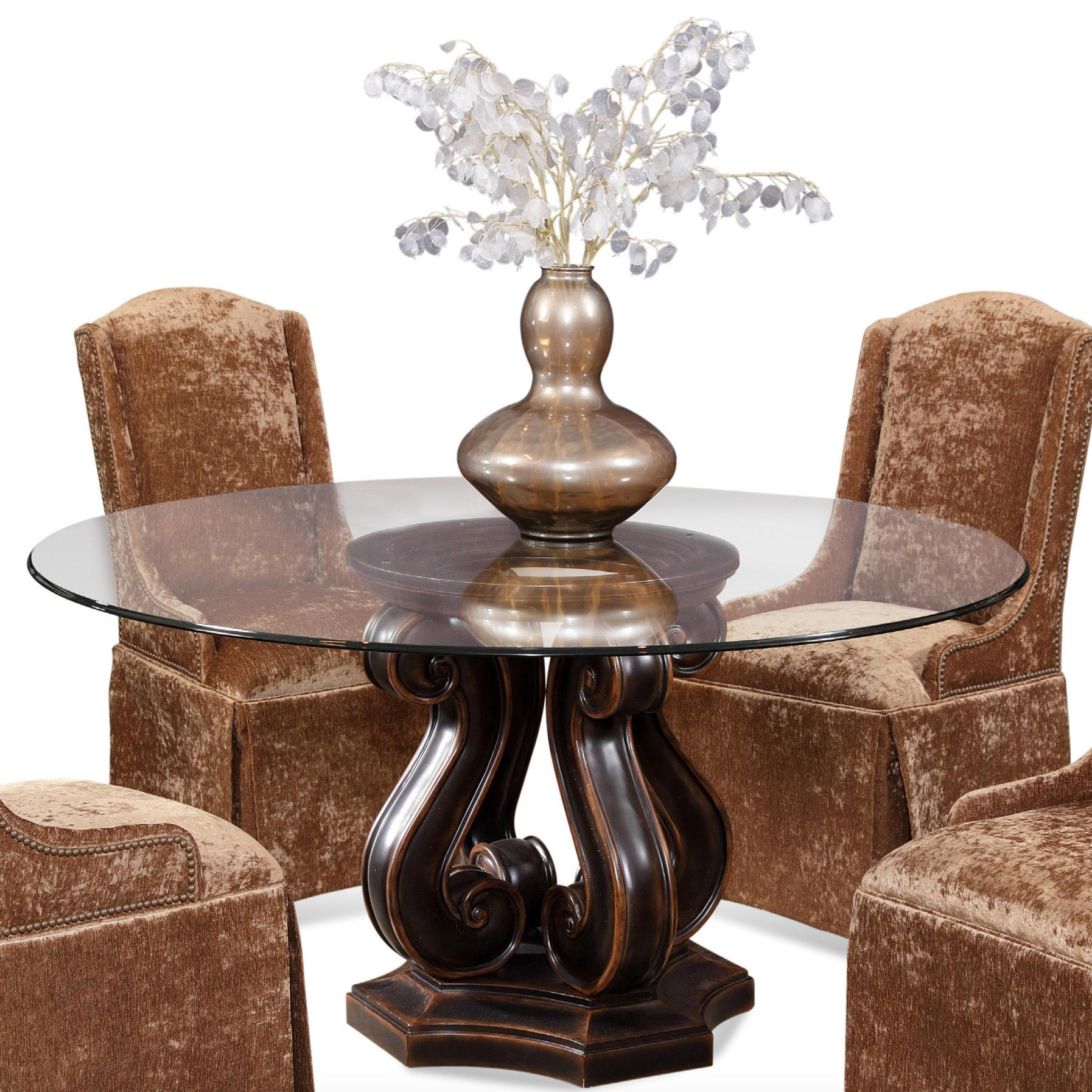 Tudor Pedestal Base Table With Round Glass Top