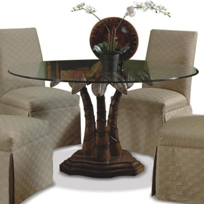 Beau Round Glass Dining Table With Palm Tree Pedestal Base