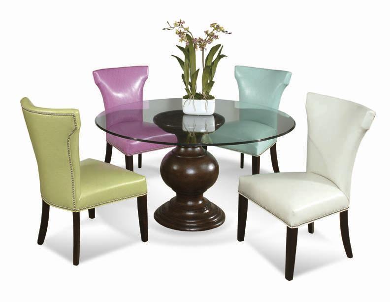 Parson Chair With Wooden Legs And Nailhead Trim